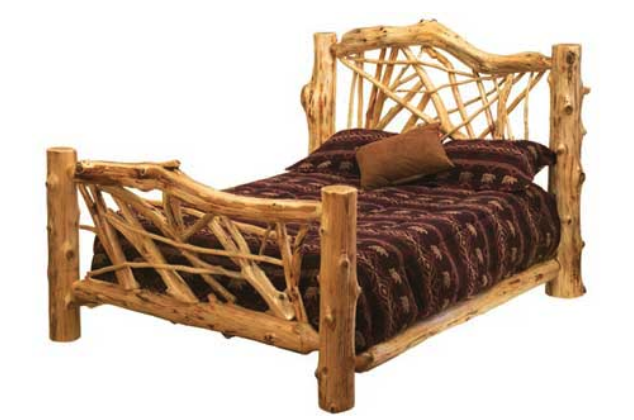 A natural wooden log bed