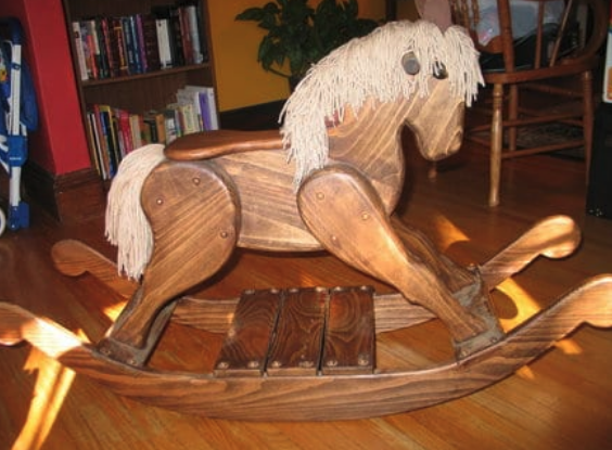 A natural wooden rocking horse that can be made at home.
